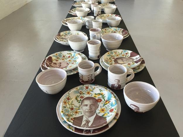 "Justin Rothshank, Barack Obama Tableware Set, 2016 earthenware, glaze, ceramic decals 9"" H x 20"" W x 6"" D"