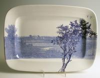 Paul Scott's Cumbrian Blue(s), American Scenery, Hudson River, Indian Point, Inglaze decal collage, gold luster on J&G Meakin Ironstone platter c.  1850