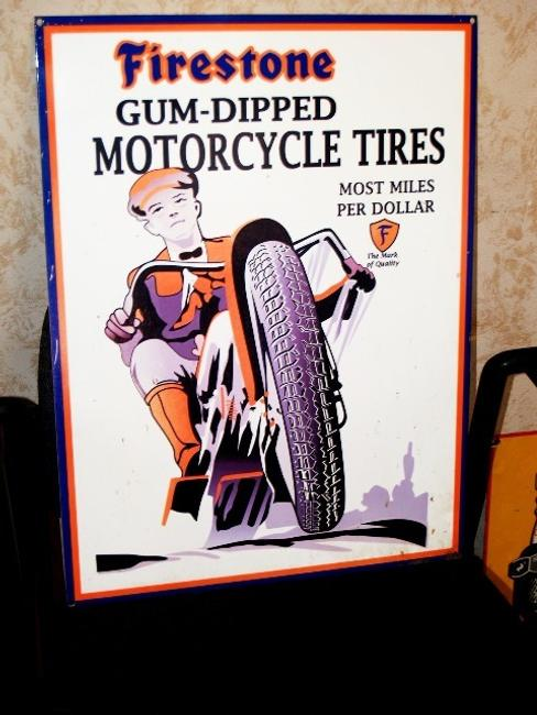 Firestone porcelain motorcycle tires sign with excellent color and graphics.