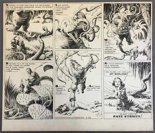 This original Sunday page artwork for the Flash Gordon comic strip dated Jan.  24, 1937, by Alex Raymond, sold for $60,375 at auction.