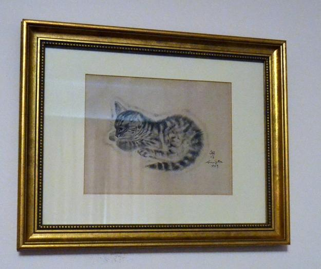 This 1929 cat drawing by Leonard T.  Foujita (1886-1968), signed and dated and framed, will be sold at auction on Saturday, June 27th, in Southport, Fla.