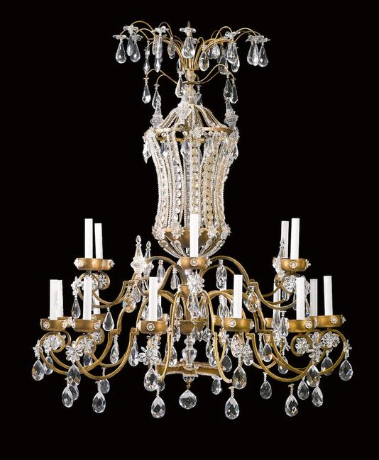 A Pair of French Neoclassical Style Gilt-Metal Eighteen-Light Chandeliers