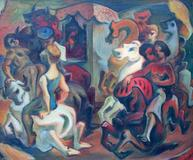 Theodore Fried, Carousel, c.  1940's, oil on masonite, 43 x 51 inches