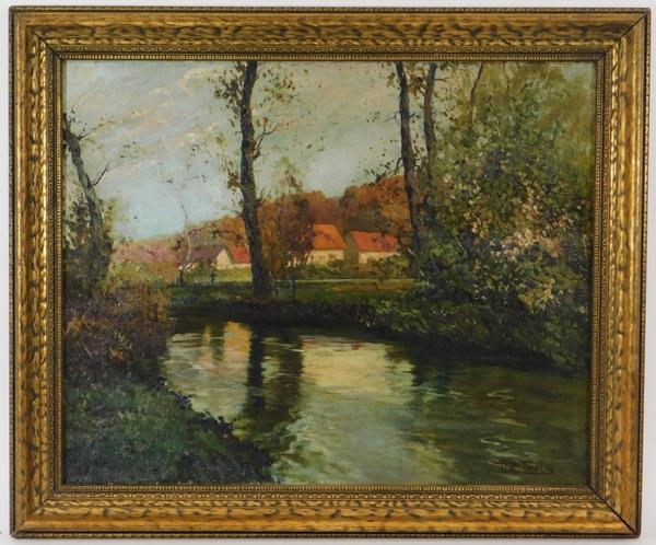 Reflective Impressionist painting by Frits Thaulow (1847-1906), signed lower right, depicting a tranquil river with forest embankments and a cluster of farm buildings (est.  $6,000-$9,000).
