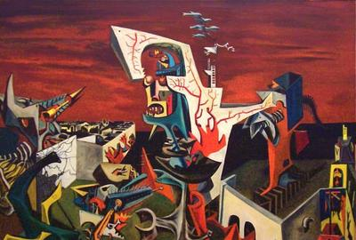 Hugh Mesibov, The Siege (Leningrad), 1943, 54 x 61 inches