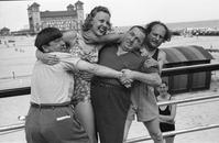 The Three Stooges and Barbara Bradford Mann on the Steel Pier, Atlantic City, 1938