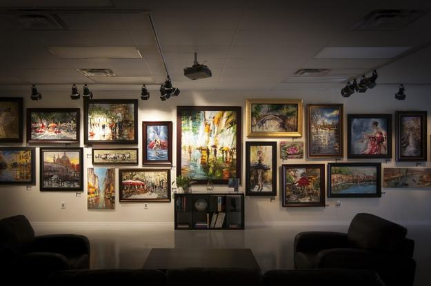 The front wall in Baterbys' main gallery is a riot of color and a cavalcade of wonderful artworks.  All may be bid on and purchased.