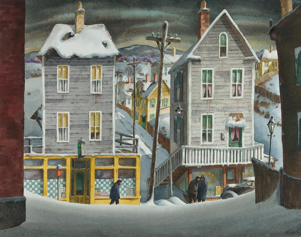 Henry Martin Gasser (1909–1981) December Morning Watercolor and gouache on paper 18⅞ x 23⅞ inches (sight size) Signed lower right: H.  GASSER