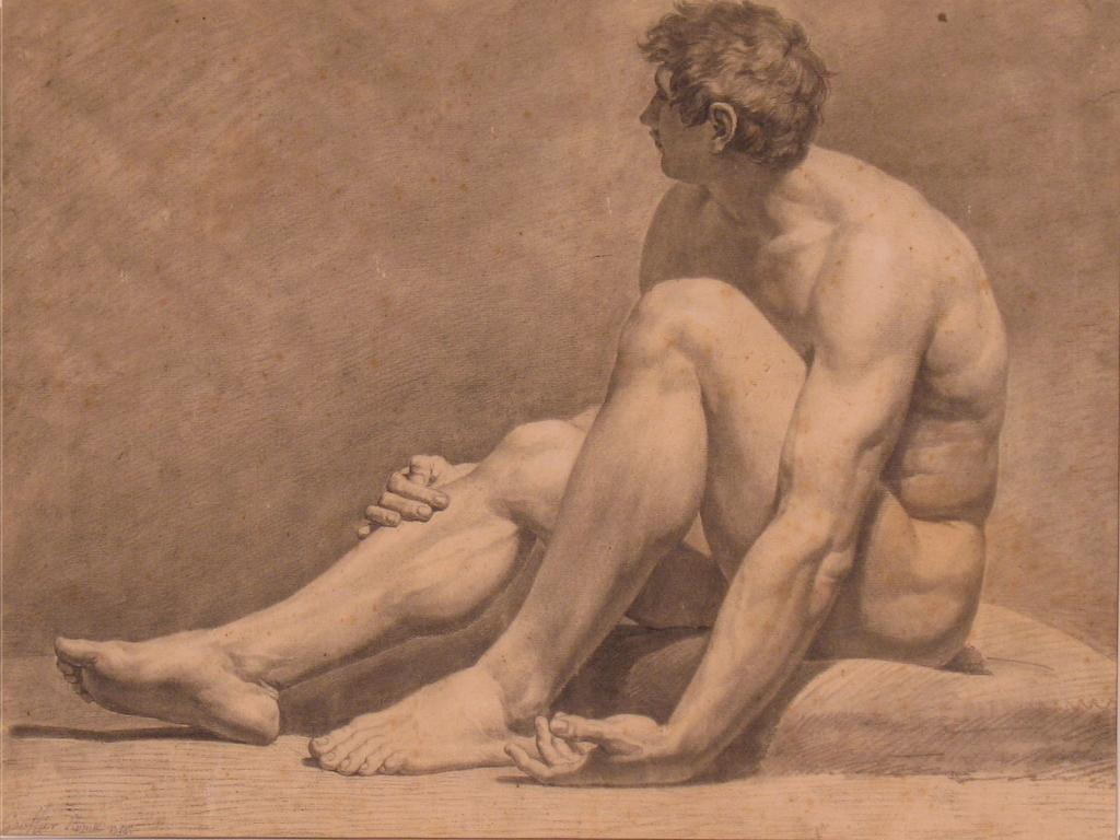 Louis Gauffier (French, 1761–1801), Academie d'Homme Assis (Study of a Male Nude), 1786.  Pierre noire with white medium, Mildred Lane Kemper Art Museum, Washington University in St.  Louis.  University purchase, 1961.