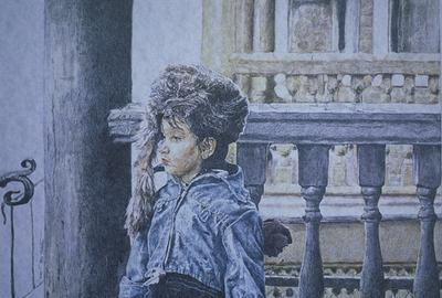 "Pencil portrait titled ""Gentile's Daughter"" ...a colored pencil drawing on parchment paper."