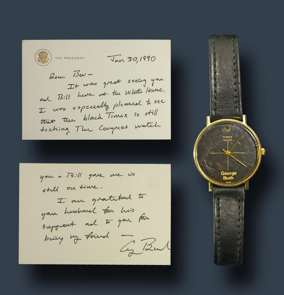 George H.W.  Bush's own Timex watch presented by him to incumbent Republican Congressman Bill Young in 1990, along with a hand-signed note to Young and his wife (est.  $5,000-$6,000).