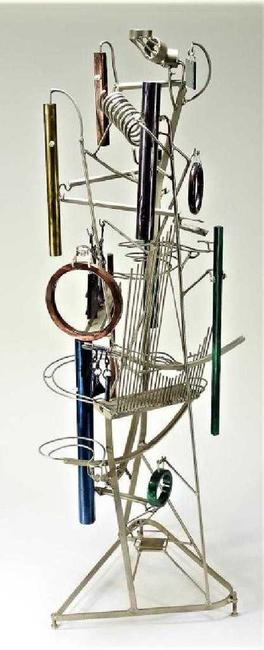 Audio-kinetic ball machine sculpture by George Rhoads (American, b.  1926), having 12 striking wind chimes within a xylophone-like midsection (est.  $3,000-$5,000).