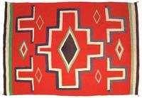 This late 19th century Germantown fine weave blanket with cross pattern will be sold March 8-9 in Mesa, Arizona.