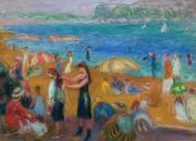 Oil on board painting by William Glackens (Am., 1870-1938), titled The Bathers, unsigned (est.  $250,000-$350,000).