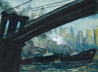 John Grabach View from Under the Brooklyn Bridge 18×24 in.  (45.7×61.0 cm)