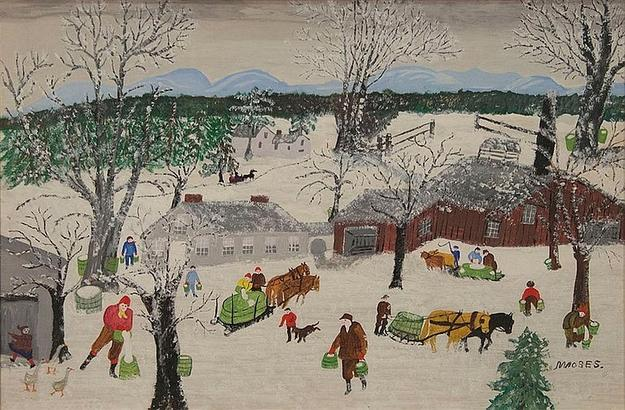 This 1954 oil on Masonite work by the iconic American folk artist Grandma Moses, titled Sap Gathering, sold for $78,000 on April 11th.