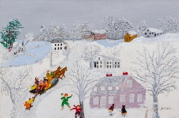 Grandma Moses - Over the Bridge depicting children playing in the winter and riding a sled over a covered bridge