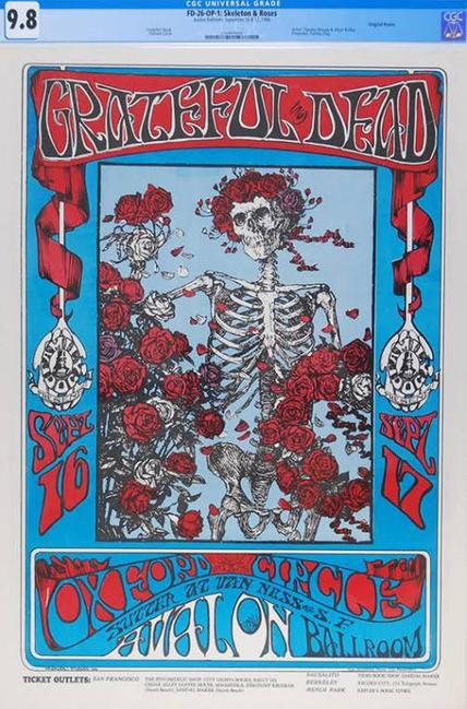 This museum quality specimen of the legendary Grateful Dead Skeleton and Roses FD-26 concert poster is the expected star lot in an online auction hosted by Psychedelic Art Exchange.