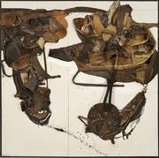 "Nancy Grossman (b.1940), For David Smith, 1965, leather, metal, rubber, fabric and paint assemblage, 85"" x 85"" x 4 3/4"", signed and dated"