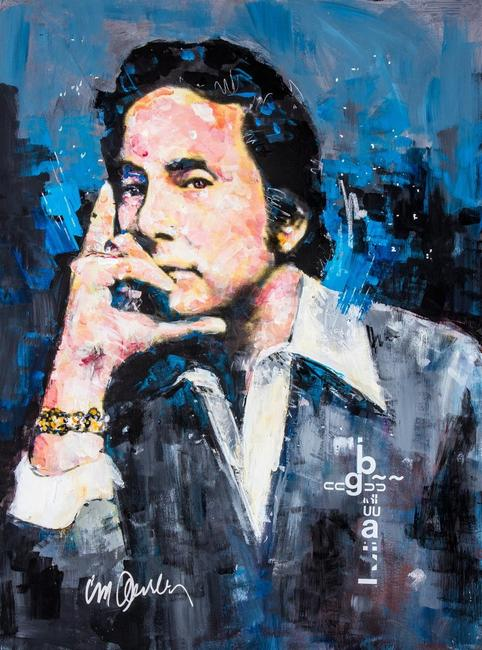 Sid Maurer painted this stylized rendering of Penthouse Magazine founder, the late Bob Guccione.  The painting is now owned by former NFL star Joe Namath.