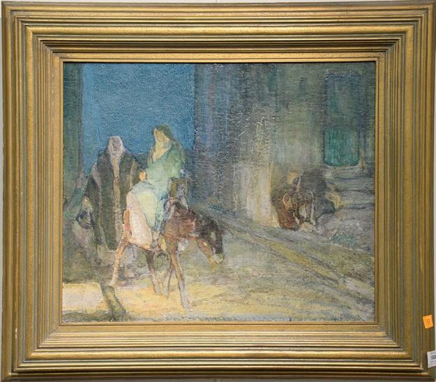 This original oil painting by H.  O.  Tanner, titled Flight into Egypt, sold for $84,000 at Nadeau's Auction Gallery on January 1st.