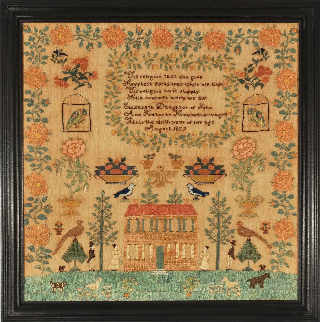 Needlework by Elizabeth Hammell, Burlington County, New Jersey, 1827.  Collection of Daniel C.  Scheid.