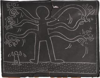 Keith Haring (American, 1958-1990), Untitled (Subway Drawing), chalk on two joined sheets of paper, executed circa 1982-1984.