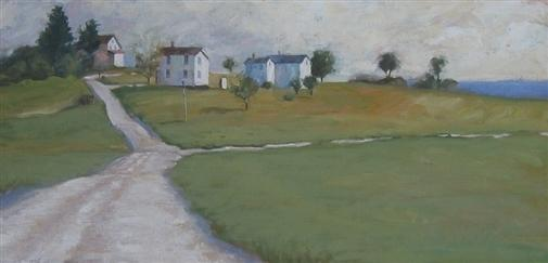 "Harold Miller.  Company Houses.  Oil on Linen on Wood.  12""x24"""