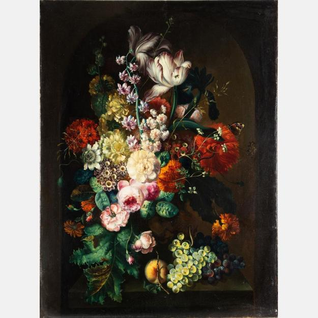 Oil on canvas painting after Margaretha Haverman (Danish, c.  1693-1739), titled Still Life with Flowers, unsigned, after the original in the Museum of Modern Art in New York (est.  $5,000-$7,000).