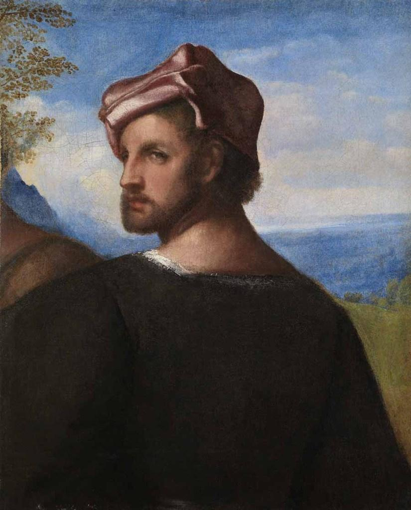 "Titian (Tiziano Vecellio), ""Head of a Man,"" ca.  1508–10.  Oil on canvas, 21 1/4 x 17 1/4 in.  (53.8 x 43.6 cm).  Glasgow Museums, Purchased by Glasgow Museums, 1971 (3283).  © CSG CIC Glasgow Museums Collection.  Courtesy American Federation of Arts."