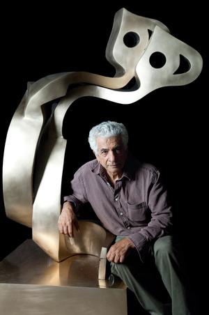 Parviz Tanavoli with his Heech Lovers, 2007.  Bronze sculpture.  Private Collection.  Courtesy of the artist.