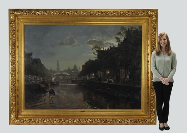 Late 19th or early 20th century oil on canvas attributed to Heinrich Hermanns (German, 1862-1942), titled A View in Amsterdam, depicting the Singel Canal at dusk (est.  $25,000-$30,000).