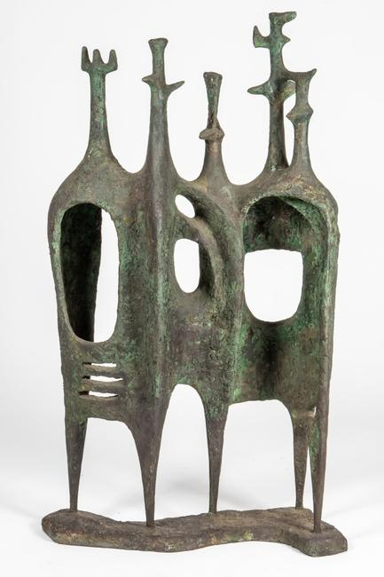 Belplast work by non-objective sculptor Helen Beling (American, 1914-2001), titled Crenellated and Arched, 48 inches tall by 35 ½ inches wide (est.  $4,000-$6,000).