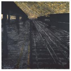 Herndon Railway, 18 August 1988, Latex and tar on canvas, 96 x 96 in