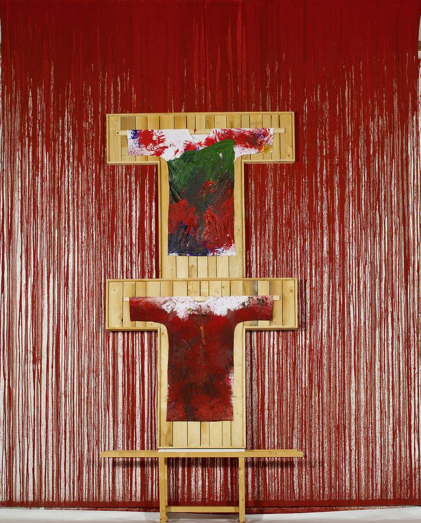 Hermann Nitsch, UNTITLED, 2011, Acrylic on Canvas and painting on shirt, 540 x 400 cm
