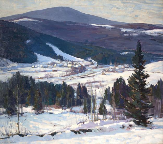 'Bondville, Vermont', oil on canvas, 30 1/8 x 34 inches, signed lower left: 'A.  T.  Hibbard'