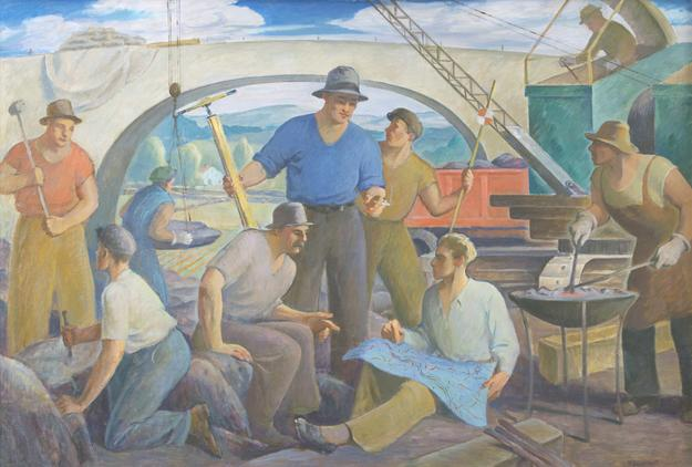 Howard Logan Hildebrandt (1872-1958), 'Working on the Road', circa 1935, oil on canvas, 48 x 72 inches, signed lower right: 'H L Hildebrandt'