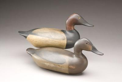"Canvasback Pair by John ""Daddy"" Holly (1819-1892) or James T.  Holly (1855-1935), Havre de Grace, MD, c.  1885 ($155,250)"