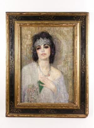 This bust portrait by Hovsep Pushman (1877-1966), titled Sacred lotus of the Nile, brought $50,000 at Ahlers & Ogletree's Oct.  4-5 auction.