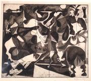 Howard Daum, Combat, 1947, intaglio, final state