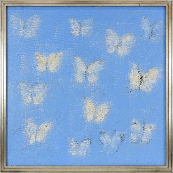 Expressionist painting by Hunt Slonem (N.Y./Me./La., b.  1951), titled White Sulphur and depicting white butterflies over a powder blue background, artist signed (est.  $6,000-$9,000).