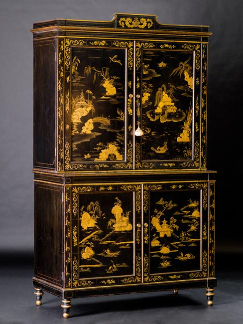 Regency Japanned and Parcel-Gilt Cabinet, 1808