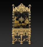 Exhibitor: Hyde Part Antiques A Charles II Black and Gilt Japanned Cabinet with Original Giltwood Stands and Cresting, circa 1685.