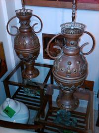 A great pair of vintage oversized copper lamps