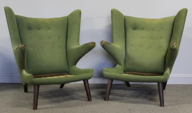 Pair of vintage Papa Bear Chairs by Hans Wegner.