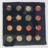 """Black T Boro: Circles"" 2012 20"" x 20"" Discarded t-shirts, cotton and rayon thread appliquéd and embroidered."