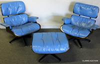 Pair of Midcentury blue cushion and rosewood Ray and Charles Eames 670 Lounge Chairs with single 671 ottoman