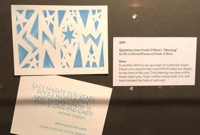 Anna Pinto's 2009 Holiday Card with stenciled 'Snow' and quote from Frank O'Hara.
