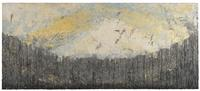 "Kyoko Ibe, ""Curved Horizon Hogosho with blue and gold"", 2009, old gampi paper, mica, sumi ink, old document, 24 x 55 in."