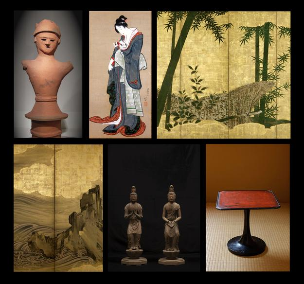 Clockwise, from top left: Haniwa Warrior, 6th century, courtesy Judith Dowling Asian Art.  Katsushika Hokusai, Young Geisha with Kitten (detail), circa 1805-10, courtesy Sebastian Izzard LLC Asian Art.  Madake Bamboo by Bamboo Fence (detail), 18th century; courtesy Erik Thomsen Asian Art.  Negoro lacquered stem table, 14th century; courtesy Mika Gallery.  Kannon Bosatsu and Seishi Bosatsu, Kei School, 13th century; courtesy Koichi Yanagi Oriental Fine Arts.  Attributed to Hasegawa Togaku, Waves